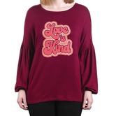 Rooted Soul, Love Is Kind, Women's Long Bishop Sleeve Top, Burgundy, XS-2XL
