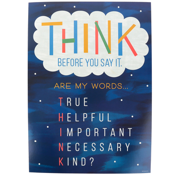 Renewing Minds, Think Before You Say It Motivational Poster, 13.25 x 19 Inches, 1 Piece