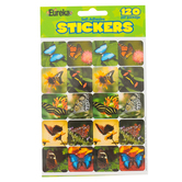 Eureka, Photographic Butterflies Stickers, 1 x 1 Inch, Multi-Colored, Pack of 120