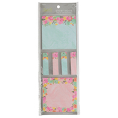 Fiddlestix Paperie, Spring Flower Sticky Notes and Flags, Pastel Colors, 2 Pads