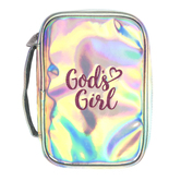 Gods Girl Bible Cover, Polyurethane, Silver and Pink, Large