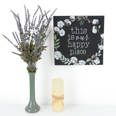 This is Our Happy Place Wall Decor, MDF Wood, Black and White, 12 x 12 x 1 1/4 inches