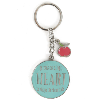 Christian Art Gifts, It Takes a Big Heart Teacher Key Ring with Tin, Silver and Blue