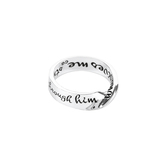 Dicksons, Philippians 4:13 Wide Mobius, Women's Ring, Silver Plated, Sizes 6-9