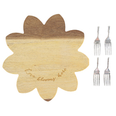 Pavilion Gift, Floral Love Blooms Here Serving Board Set, Wood, 10 inches