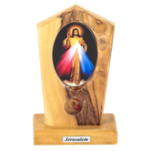 Logos Trading Post, Jesus Divine Mercy Icon Plaque, Olive Wood, 4 x 2 Inches