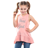 NOTW, The Struggle Is Real But So Is My God, Kids Racerback Tank Top, Blush Peach, XS-L