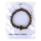 Roman, Inc, Confirmed In Christ Beaded Stretch Bracelet, Brown & Black