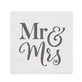 P. Graham Dunn, Mr & Mrs Square Coaster, Absorbent Ceramic, White & Black, 4 inches