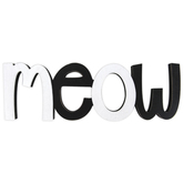 Meow Wall Word, MDF, Black & Silver, 5 x 15 1/2 inches