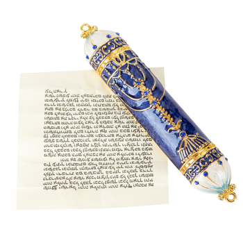 Holy Land Gifts, Menorah Mezuzah, Pewter, Blue, 4 Inches