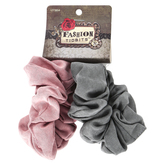 Fashion Tid Bits, Microfiber Ruffled Hair Scrunchies, Rose Pink and Gray, 1 Each of 2 Designs