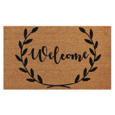 Welcome Wreath Doormat, Coir, Brown & Black, 18 x 30 inches