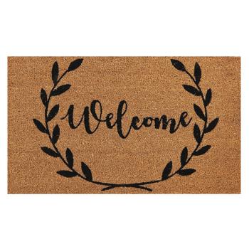 Welcome Wreath Doormat, Coir, Brown & Black, 18 x 30 inches