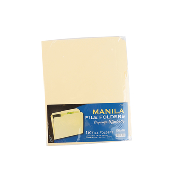 Bazic Products, File Folders, Manila, 11 5/8 x 9 1/2 inches, Set of 12