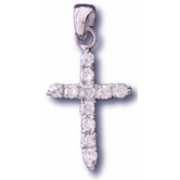 H.J. Sherman, Small Cross With CZ's Pendant Necklace, Silver, 18 Inch Chain