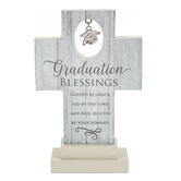 Abbey and CA Gift, Graduation Blessings Cross, Wood, Gray, 4 x 6 x 1 1/2 inches