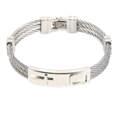 H.J. Sherman, Triple Wire Cross Bracelet, Stainless Steel and Wire, Silver, 2 5/8 inches