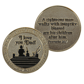 Logos Trading Post, Proverbs 20:7 I Love You Dad Coin, Zinc Alloy, Gold Plated, 1 3/4 inches