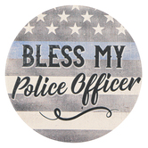 Carson Home Accents, Bless My Police Officer Car Coaster, Absorbent Stoneware, 2 3/4 inches