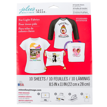 Jolees, Easy Image Transfer Sheets for Light Fabrics, DIY Iron On, 8 1/2 x 11 Inches, 5 Sheets