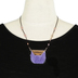 By His Grace, Trapezoid Pendant with Purple Fringe Necklace, Zinc Alloy and Leather, Rose Gold, 20 Inch Cord