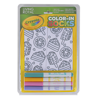 Crayola, Living Royal Sweet Snacks Color-In Socks, Polyester, White, Fits Child Size 9 to Women's Size 11, 1 Pair