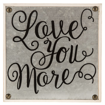Love You More Galvanized Tin and Wood Table Plaque, Natural, 7 3/4 x 7 3/4 x 1 3/4 inches