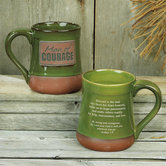 Abbey and CA Gift, Man of Courage Stoneware Mug, Olive and Terra Cotta, 20 ounces