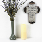 Matthew 6:9-13 Lord's Prayer Floral Trim Wall Cross, Resin, 12 x 8 3/4 x 1/2 inches
