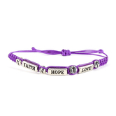 Faith Spark, Faith Hope Love Woven Slide Bracelet, Zinc Alloy and Polyester, Silver and Purple, 7 Inches