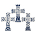 Roman, Inc., Mini Tabletop Cross, Ceramic, Blue and White, Assorted Styles, 4 inches