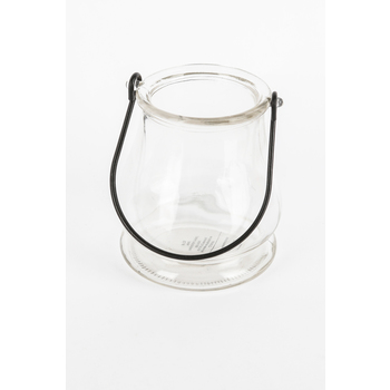 Glass Tealight Candle Holder with Handle, Clear, 3 1/2 x 3 3/4 inches