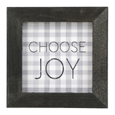 P. Graham Dunn, Choose Joy Buffalo Check Tabletop Plaque, Gray & White, 5 x 5 inches