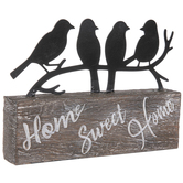Birds Home Sweet Home Tabletop Décor, Metal and Resin, Black and Brown, 8 x 6 x 1 1/4 inches