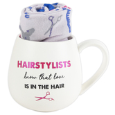 Pavilion Gift, Hairstylists Know That Love Is In The Hair Mug & Sock Set, White and Blue, 2 Pieces