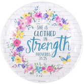 Renewing Faith, Faith & Fellowship Proverbs 31:25 Paper Plates, Large, Floral, 10 1/2 Inches, Pack of 20