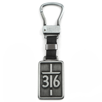 Christian Art Gifts, John 3:16, For God So Loved Keyring in Tin, Metal, Silver, 3 x 2 inches