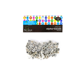Tree House Studio, Alphabet Beads, 7mm, Antique Silver, 85 count