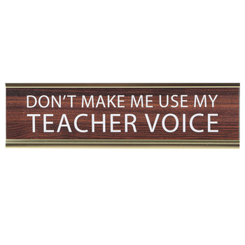 Teacher Voice Nameplate, Brown, White, and Gold, 8 x 2 x 1 inches