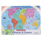 The Learning Journey, Lift & Learn Continents & Oceans Puzzle, 22 Pieces, 15 x 11 inches