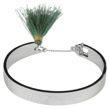 Bella Grace, Joy Unspeakable Tassel Bangle Bracelet, Zinc Alloy, Silver