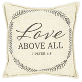 DaySpring, Love Above All 1 Peter 4:8 Pillow, Polyester, Natural and Gray Metallic, 12 x 12 Inches