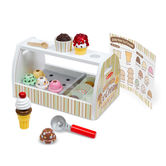 Melissa & Doug, Scoop and Serve Wooden Ice Cream Counter, Ages 3 to 7 Years Old, 28 Pieces
