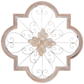 Ornate Floral Wall Decor, Metal and Wood, Brown and White, 24 1/2 x 24 1/2 inches