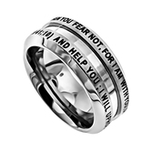 Spirit & Truth, Isaiah 41:10, Fear Not..., Industrial Men's Ring, Stainless Steel, Sizes 8-12