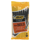 Bic, Cristal Ball Point Pens, Bold Point, Black, Pack of 8