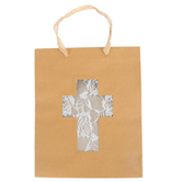 Medium Lace Cross Gift Bag, Paper, Brown/White