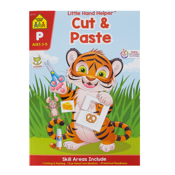 School Zone, Little Hand Helper Workbook: Cut and Paste Preschool, Paperback, 32 pages, Ages 3-5