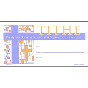 Warner Press, Tithe Stained Glass Offering Envelopes, 6 1/4 x 3 1/8 inches, Set of 100